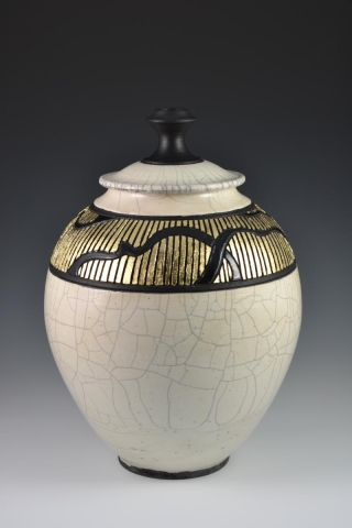 Gold Leaf Raku Jar