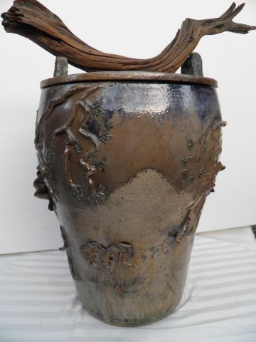 Elephant vase with driftwood handle-view 3