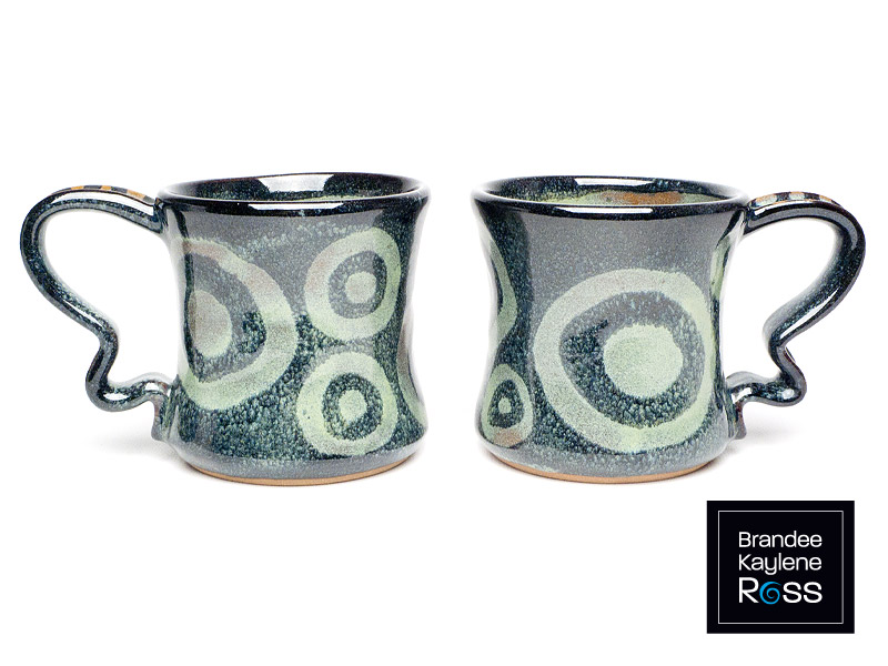 Rutile Green & Black Mugs - Cone 6 Oxidation