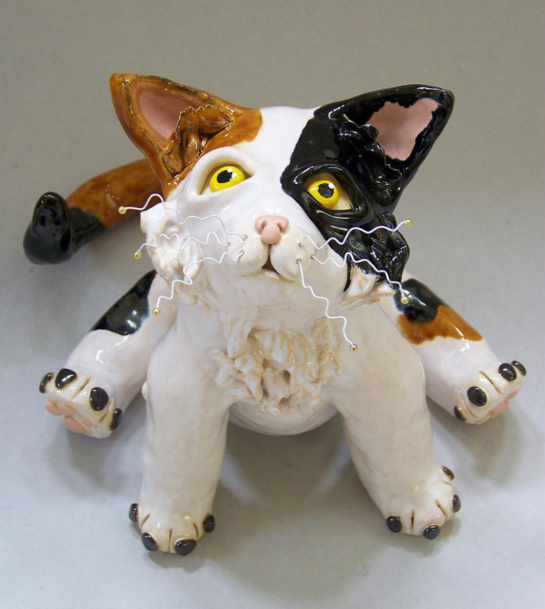 "Ceramic Calico Cat Sculpture ""Callie"""