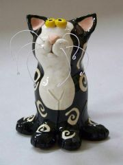 "Black & White Swirl Design Cat Sculpture ""Pikaboo"""