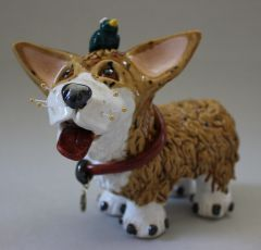 "Welsh Corgi Dog Sculpture with Bird Friend ""Rosebud"" Item 1152"