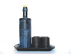 Large Indigo Decanter Set, 1.25 quart bottle