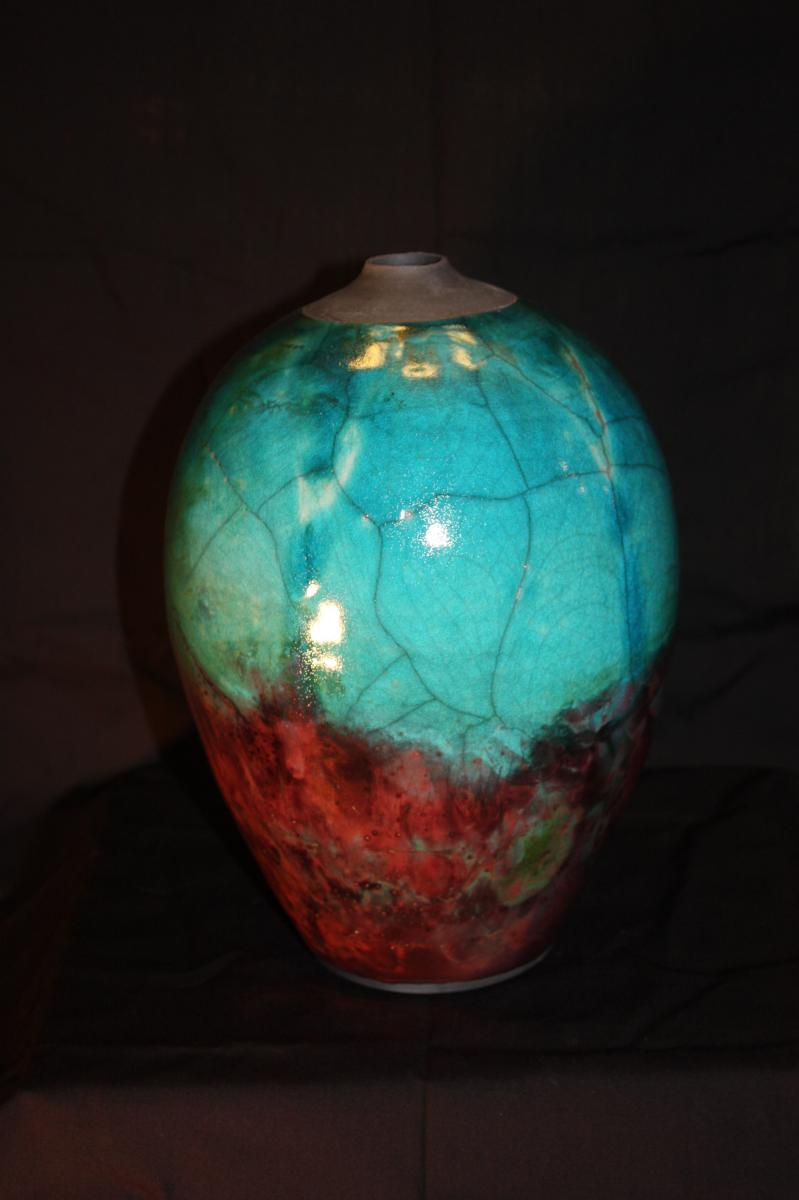 14 inch Egg shaped Raku vessel