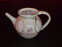 Stoneware teapot Copper and cobalt brush decoration