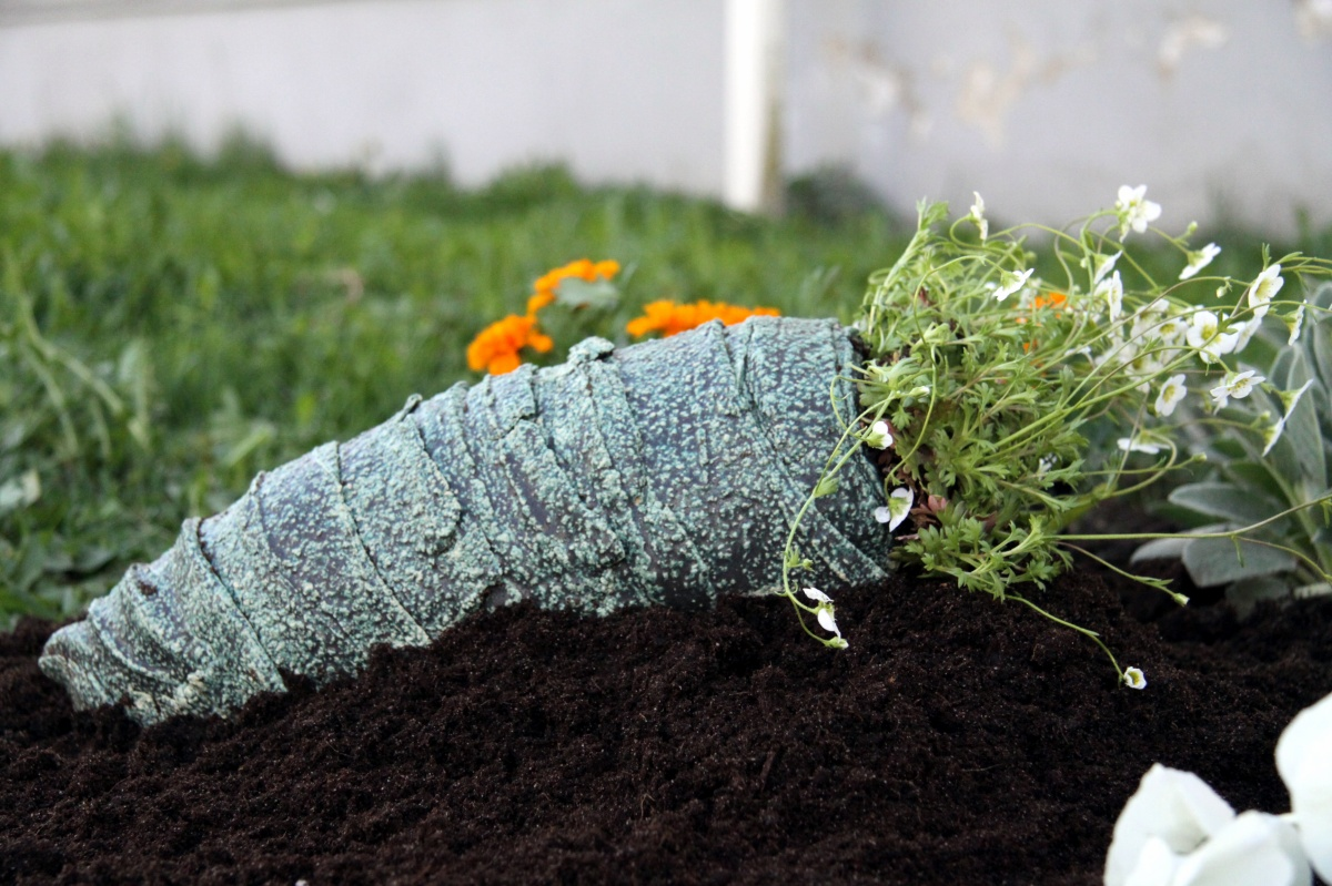 Stone cocoon with flower tenticles, surfacing through the soil