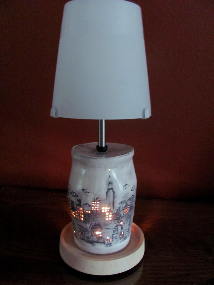 New York City skyline luminary/lamp