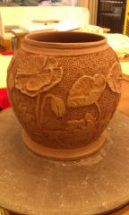 hand carved poppy vase