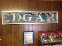 Town of Edgar train depot sign from 1900's
