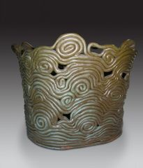 Coiled pot, stoneware, 14""