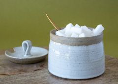 White Pottery Sugar Bowl