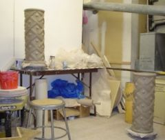 Two columns at the Clay Studio during a residency