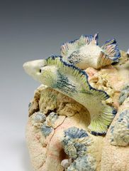 Reef detail - colored porcelain w underglazes & found objects