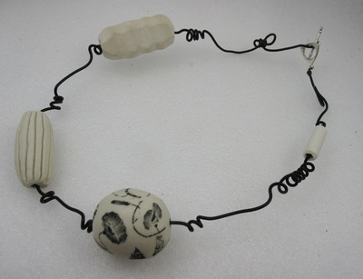 Decal floral large bead necklace