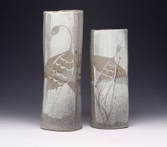 Two Handbuilt Vases with Herons