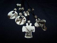 Raku Pendants with Beads   Horsehair/feather method
