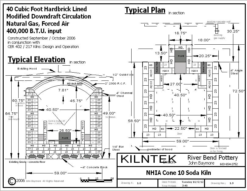 40 Cubic Foot Gas Kiln Plan Example