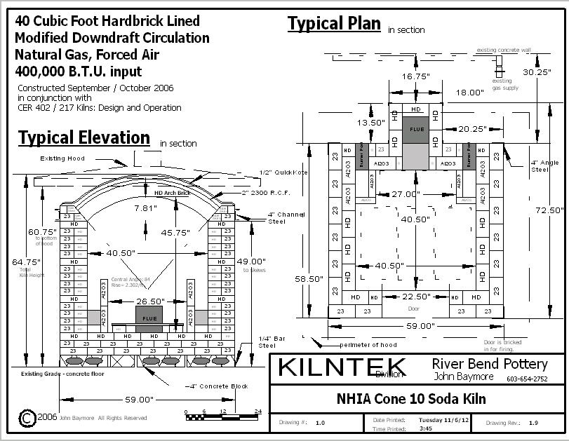 40 cubic foot gas kiln plan example