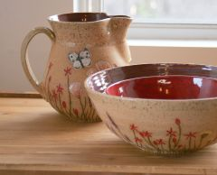Wildflower pitcher and large nesting bowl set