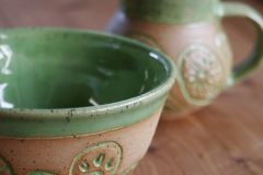 Paisley mug and bowl set in green