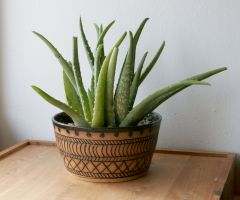 Stoneware planter with black mishima wax resist decoration
