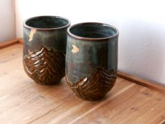 Slate Blue Carved Mountain Tumbler