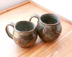 Slate Blue Rustic Mountain Mugs