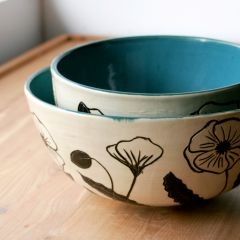 Black and White Poppy Nesting Bowls