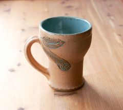 Turquoise feather stein