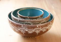 Nesting Bowl Set in Teal and Chocolate Brown with Slip Trailing.