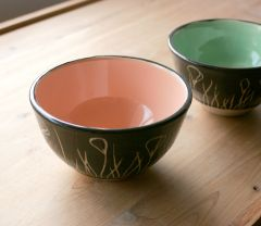 Sgraffito bowls with California poppies