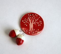 Acorn Earrings and Fall Tree Pendant