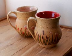 Wildflower Mugs in Red and Peach
