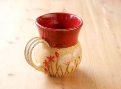 Potbellied wildflower mug, red
