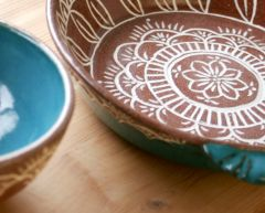 Slip Inlay Pie Plate, interior and cereal bowl