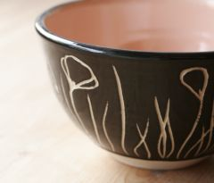 Sgraffito bowl with California poppies