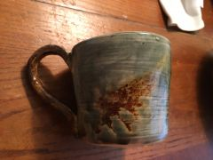 Mug fired first to cone 4-5. ,then partial new glaze applied ,retired cone 7⬆�