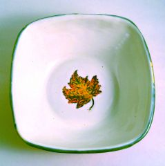 Falling Brightly Serving Bowl with Silkscreened Leaf