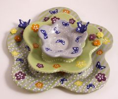 Stacking Butterflies and Blooms Dish Set