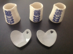 Creamers and sample wedding favours