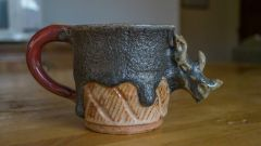 Lava Oxblood and Shino Mug with Sculpted Rhino Head