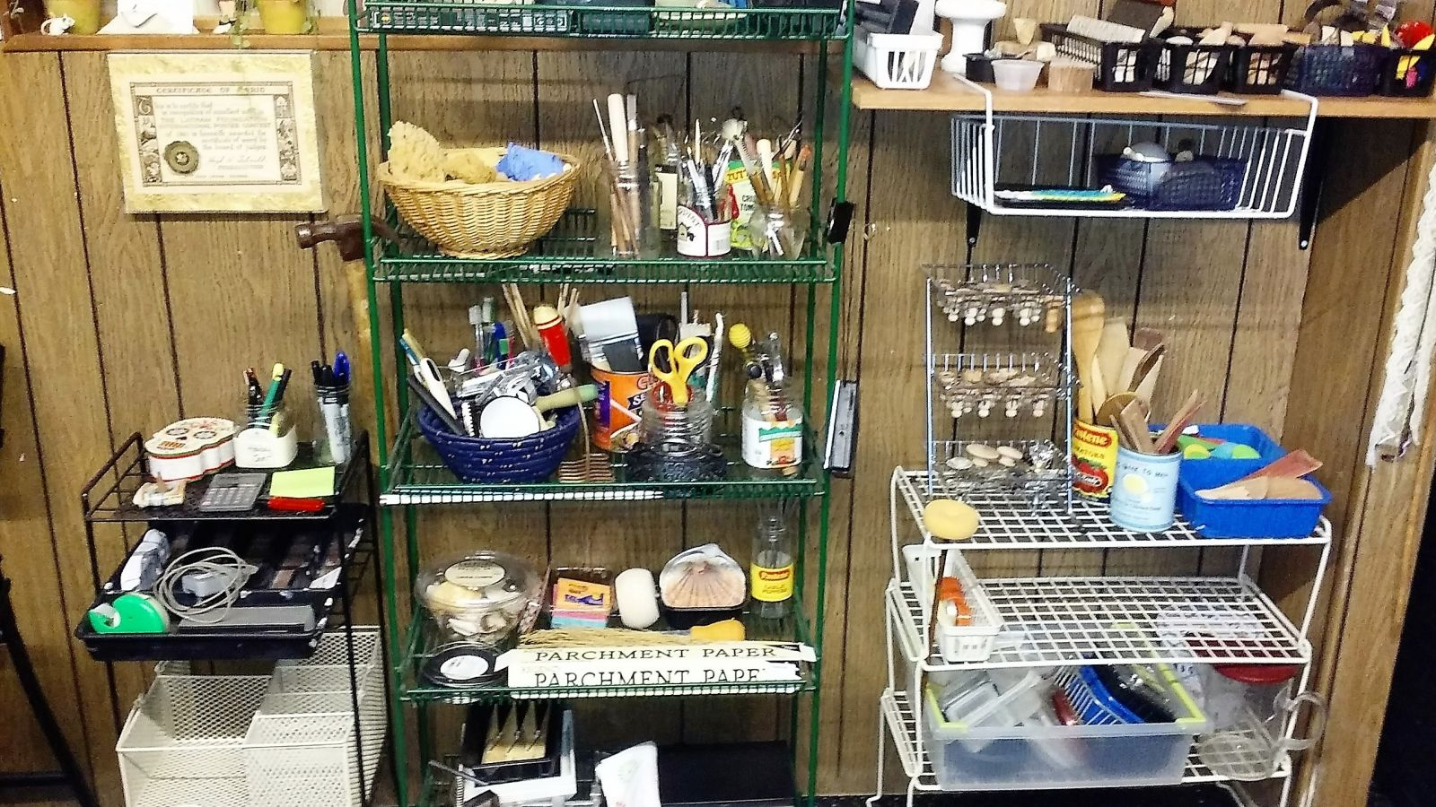 tools, stamps, more wire shelves