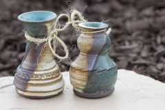 Turquoise And White Matt vases
