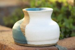 Turquoise And White Matt Vase