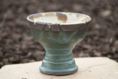 Turquoise And White Matt Foot Bowl