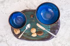 Blue chun and Tenmoku bowls plus Lynn's Turquoise Brushed Platter