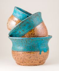 Turquoise Stacking Planters/Bowls