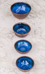 Tenmoku and blue chun bowls in b-mix ^6 reduction
