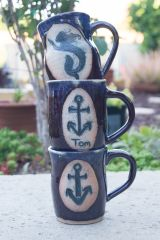 Matching Nautical Mugs in Flambe Blue