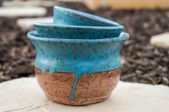 Turquoise drip stacking planters/bowls